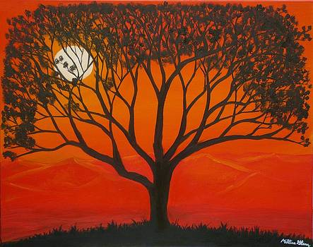 Morning Tree-with yellow and orange sky lit by dawn sun by Millian Glenn