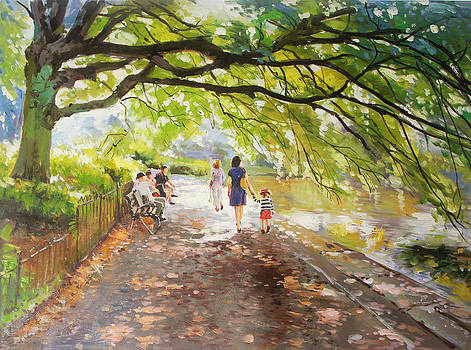 Morning Walk on Stephens Green Dublin by Conor McGuire