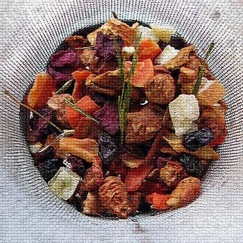 Mosaic Fruity Tea with Bamboo Leaves Square  by Ausra Huntington nee Paulauskaite