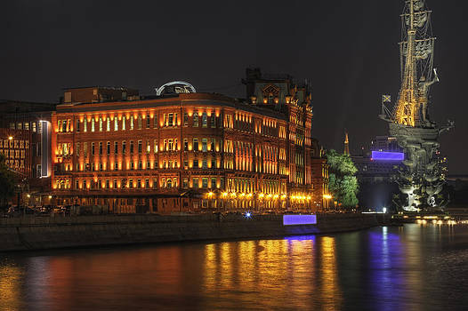 Moscow Russia at Night by Magomed Magomedagaev