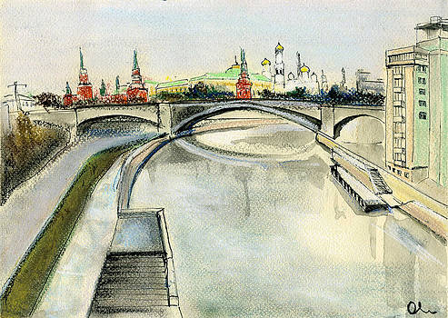 Moscow. View From Patriarchy Bridge. by Lelia Sorokina