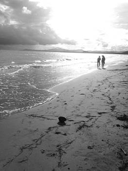 Mother and Daughter Black and White Beach II by Hannah Rose