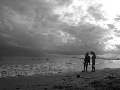 Mother Daughter Beach Black and White by Hannah Rose