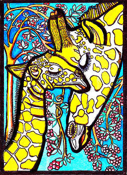 Mother Giraffe with Baby by Judy Moon