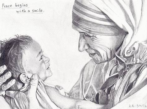 Mother Teresa with a baby by Kohdai Kitano