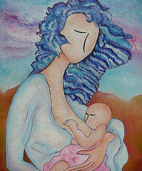 Motherhood painting Everywhere original oil by Gioia Albano by Gioia Albano