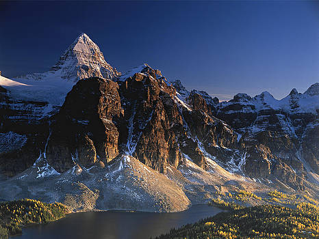 Mount Assiniboine and Sunburst Peak at sunset by Richard Berry