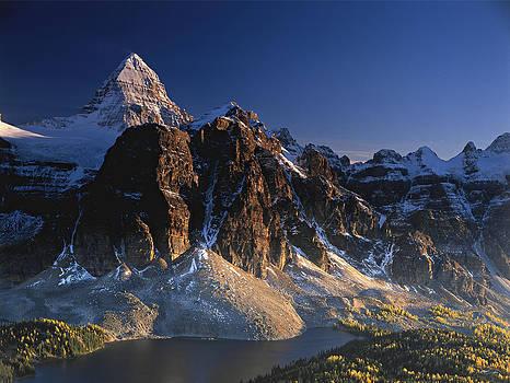 Mount Assiniboine and Sunburst Peak at sunset by Richard Berry
