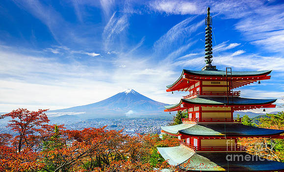 Mount Fuji with Chureito Pagoda in Japan  by Noppakun Wiropart