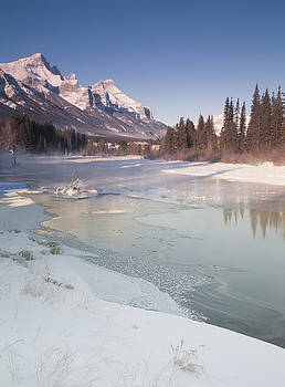 Mount Rundle and creek in winter  by Richard Berry