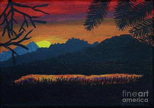 Vicki Maheu - Mountain Lake at Sunset