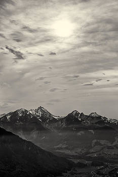 Mountain Panorama at Sunset in Black and White by Francesco Rizzato