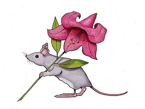 Joyce Geleynse - Mouse Carrying A Pink Lily