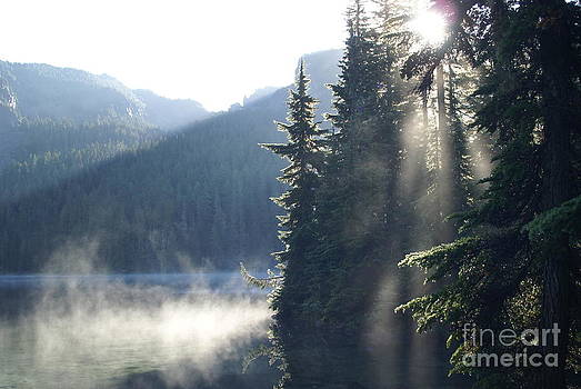 Mowich Lake at dawn by Walter Strausser