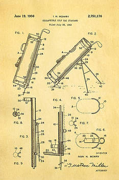 Ian Monk - Mowry Collapsible Golf Bag Patent Art 1956