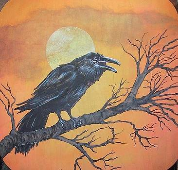 Mr Crow and the moon by Maria Elena Gonzalez