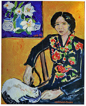 Mrs YIN portrait and his white cat by Chevassus-agnes Jean-pierre