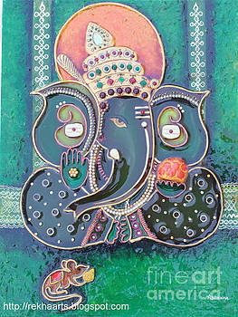 Mseal Ganesha Mural Painting by Rekha Artz