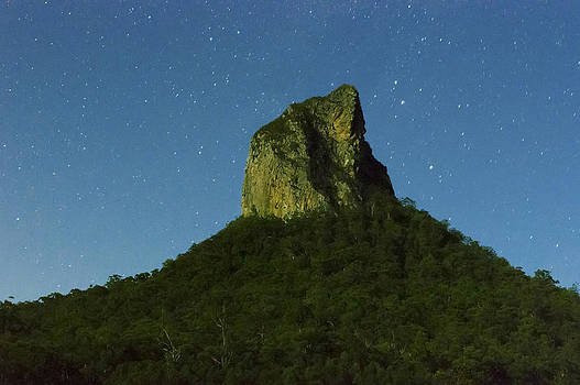 Mt Coonowrin by night by Debra Simms