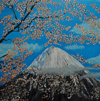 Mt Fugi at Cherry Blossom time by Donald Schrier