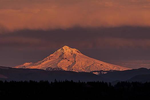Mt Hood Alpenglow by Rod Stroh