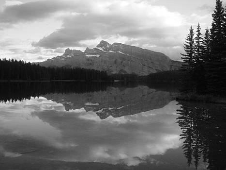 Moment of Calm - Mt. Rundle Sunset - Two Jacks Lake, Banff, Alberta - Black and White by Ian Mcadie