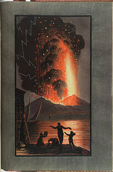 Mt. Vesuvius Erupts At Night by British Library