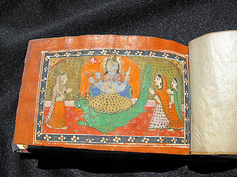 Mughal manuscript book in Hindi with numerous miniature paintings by Indian artist