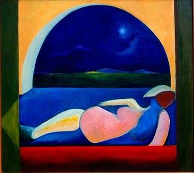 Victoria Sheridan - mujer mirando la luna