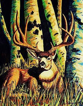 Mule Deer Buck in Aspens by Cynthia Sampson