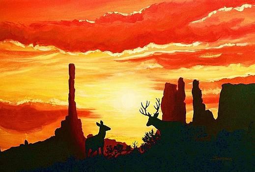 Mule Deer in Sunset by Cynthia Sampson