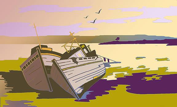 Mull Boats by day by Tony Partington