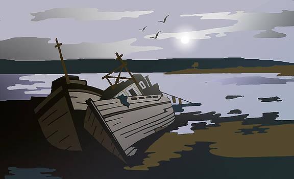 Mull Boats by Night by Tony Partington