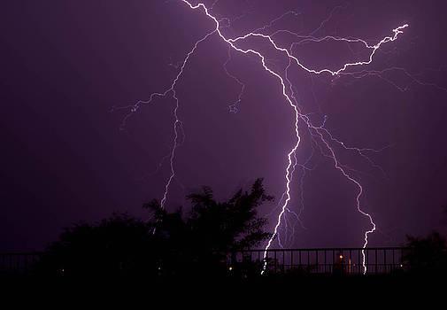 Multiple lightning strikes in Casa Grande Arizona by Chris Spangler