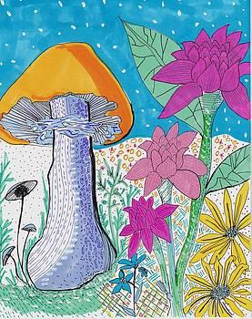 Murshroom flowers and fields by Rosalina Bojadschijew