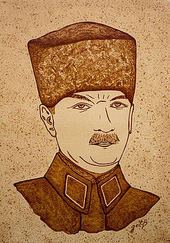Mustafa Kemal Ataturk coffee painting by Georgeta Blanaru