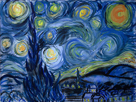 Donna Walsh - Starry Night by van Gogh in Watercolor