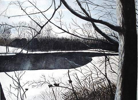 Mystic River - Winter Remnants by June Holwell