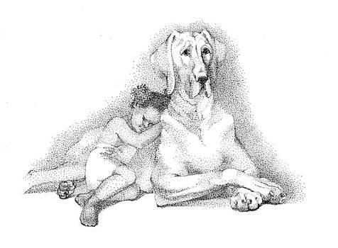 Nap time. Dog and a girl. Stippling. by Alena Nikifarava