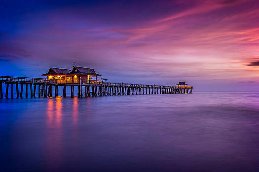 Naples Pier Purple Sunset by Hans- Juergen Leschmann