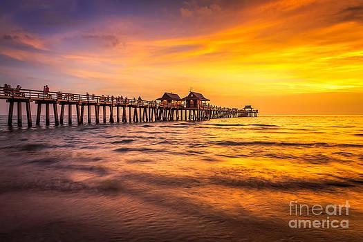 Naples Pier Sunset by Hans- Juergen Leschmann