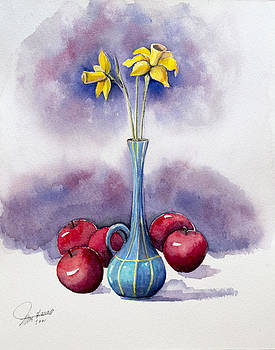 Narcissus and apples by Ida Yavari
