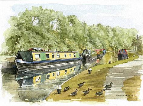 Narrow boats on the Grand Union canal by Colin Parker