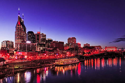 Nashville TN Skyline and the General Jackson River Boat by Patrick Collins