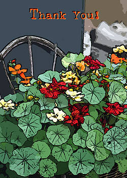 Sandra Foster - Nasturiums Thank You Card - Digital Art