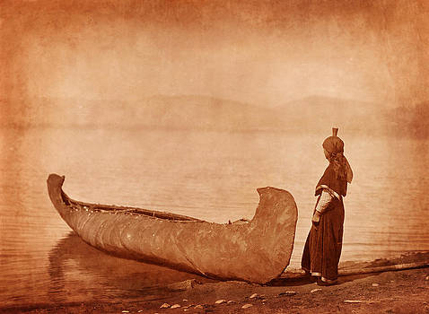 Native American Woman with Canoe by Cat Whipple