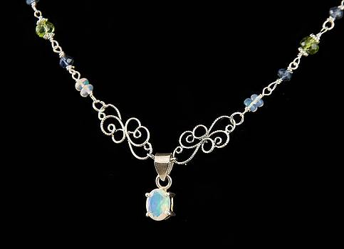 Natural 7 Carat Ethiopian Opal Pendant on Opal Peridot and Iolite Argentium Sterling Silver Necklace by WDM Gallery