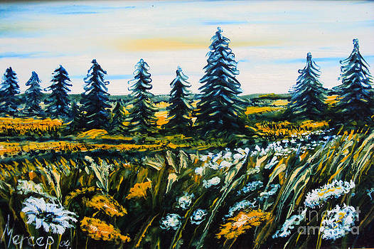 Nature Landscape Field Flowers Pines Art  by Drinka Mercep