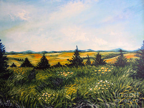 Nature Landscape Sky Mountains Pines Grass and Flowers by Drinka Mercep