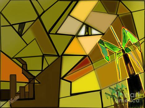 Nature V/s Industrial revolution cubic art by Artist Nandika  Dutt